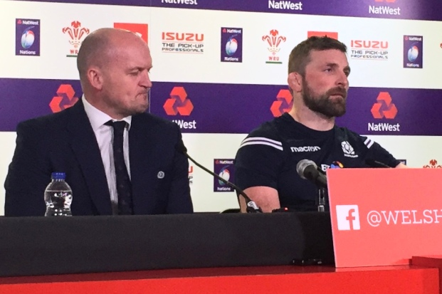 Ashen-faced coach Gregor Townsend and Scottish captain John Barclay face the press