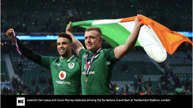 Dan Leavy and Conor Murray celebrate winning the Six Nations Grand Slam at Twickenham